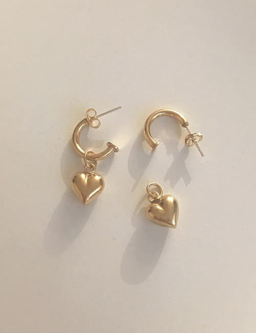 silver 925 volume heart earring